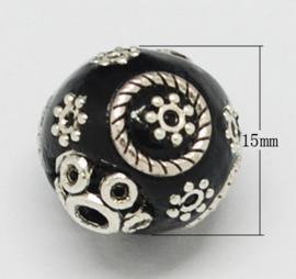 Schitterende handgemaakte Kashmiri kraal 15x16 mm ingelegd met metaal en strass Gat: 2mm zwart