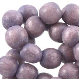 20x Aardse tinten houten kralen rond 8 mm Aubergine purple