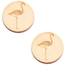 2 x Houten cabochon basic 12 mm flamingo White wood ( natuurlijke kleur van het hout)
