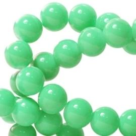 15 stuks Keramische Glaskralen 8mm  Diep crysolite groen