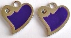 4x Metalen bedel hartje paars met ruimte voor 2 mm simils 21 mm
