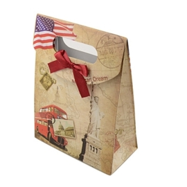 Cadeautasje kraft papier afmeting: 165 x 125 x 56mm met strikje New York