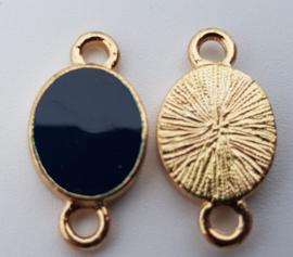 1x Tussenzetsel Dark Blue-Gold 18,2 mm x 9,5 mm oogje: 2 mm