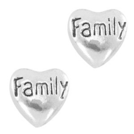 2 x Floating Charms Family Antiek Zilver 8 mm