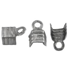 10 x DQ Veterklemmen 4 mm Antiek Zilver Plated
