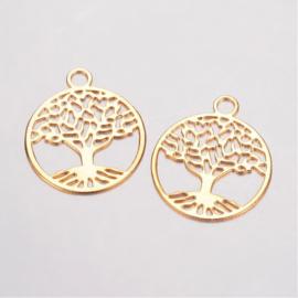 2 x Tibetaans zilveren tree of life bedeltje van een boom 24 x 20mm oogje: 3mm goud