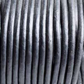 50 cm  DQ Leer rond 2 mm zilverkleur