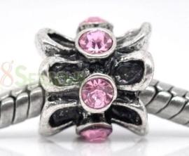 1 stuks European Jewelry kralen met bergkristal, erg mooi!! 10mm x 10mm roze