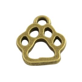 5 x tibetaans zilveren bedel geel koper kleur met hondenpoot 13 x 11 x 1,5mm oogje: 2mm