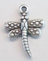 10x Antiek zilveren kunststof hanger libelle 37 mm