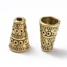 10 stuks kralenkapjes 10x7mm Tibetaans Zilver gat 2mm goudkleur