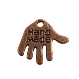 """10 stuks tibetaans zilveren hand met """"Hand made"""" erop, rood koper c.a. 12 x 10 x 1mm gat: 1mm"""