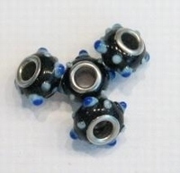 Per stuk Glaskraal European-style zwart met blauwe puntjes 13 mm