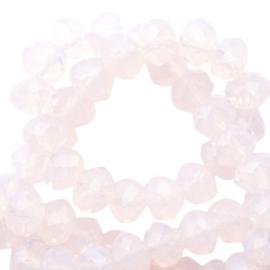 15 x Top Facet kralen 6x4 mm disc Light pink champagne opal