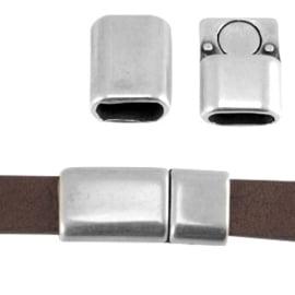 DQ metaal magneetslot 26x12mm voor 10 mm plat leer Antiek zilver (nikkelvrij) ca. 26 x 12 mm (Ø 9.5 x 3.5 mm)