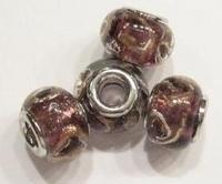 Per stuk Glaskraal European-style transparant paars/zilverfolie 15 mm