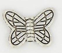 10 x  Tibetaans zilveren vlinderkraal 10,5 x 15 x 2,5mm gat: 1,5mm