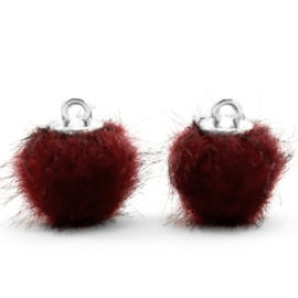 2 x Pompom bedels faux fur 12mm Port red