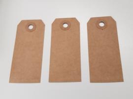 100 stuks blanco bruine labels prijskaartjes voorzien van ponsgat en versterkingsoog 26 x 64mm