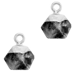 1 x Natuursteen hangers hexagon Anthracite-silver Shimmer Stone