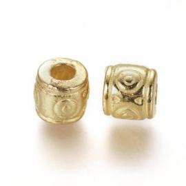 10 x Tibetaans zilveren metalen kralen 6 x 6,5mm gat: 2~3mm Goud (nikkelvrij)