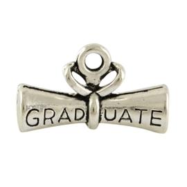 3x Tibetaans zilveren bedel Diploma met tekst Graduate geslaagd