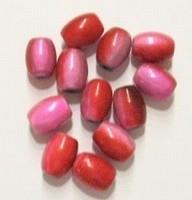 10 x 3D miraclekraal, ovaal roze/rood 11 x 8 mm gat c.a. 1.5mm