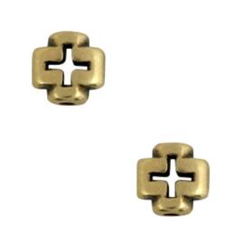 3 x Kralen DQ metaal kruis Antiek brons (nikkelvrij)