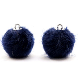 2 x Pompom bedels faux fur 16mm Dark midnight blue