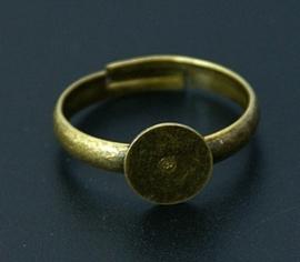 2 x verstelbare geel koper kleur basis ring, diameter c.a.17 mm , maat van de ringdop: 8 mm