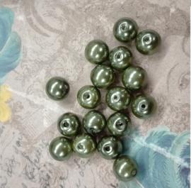 30x prachtige glasparels 8mm Gat: 1mm Mos groen