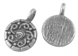 10 stuks Tibetaans zilveren bedeltjes 13 x 9 x 2mm Gat: 1mm