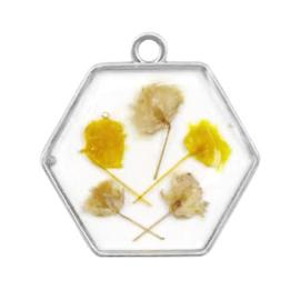 1 x  Bedels met gedroogde bloemetjes hexagon Silver-yellow