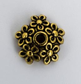 10 X Vergulde kralenkapjes met bloemen 10,4 mm x 1,8 mm