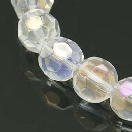 15 stuks ronde facet glaskralen transparant AB 10mm
