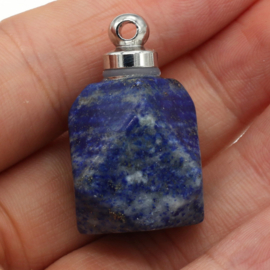 Gedenk hanger mini urn half edelsteen Lapis Lazuli