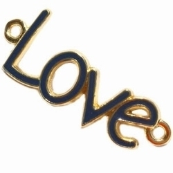 Per stuk Metalen bedel Love met 2 ogen Goud met donker Blauw 40 mm
