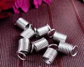 10 stuks veer- veterklemmen 6 x 6,6mm platinum kleur binnenmaat 4mm