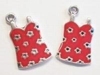 Per stuk Metalen hanger jurkje rood 26 mm