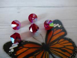 10 x Preciosa Kristal Bicone AB red 6mm  gat: 1mm