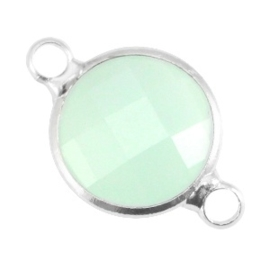 Crystal glas tussenstukken rond 12mm Crysolite green opal-Silver