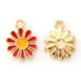 2 x vrolijke metalen bedels bloem rood wit 14 x 12mm