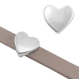 1x DQ metaal schuiver hart Antiek zilver Ø5.2x2.2mm