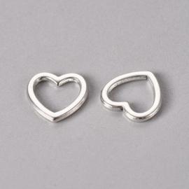 10 stuks Tibetaans zilveren gesloten ringen hartvorm  10 x 10mm x 1mm
