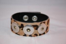 Drukker armband met vachtje Luipaard en drukknoopsluiting enkele rij voor drie verwisselbare drukkers.