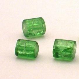 30 stuks crackle glas kralen cilinder vorm 7 x 8mm groen