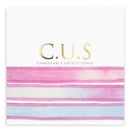 1 x C.U.S sieraden lint Dip dye magenta pink ca. 70x1.2cm