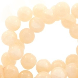 20 x Crackled opal glaskralen 8 mm Silk beige