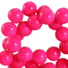 15 stuks Keramische Glaskralen 8mm  Fluor roze