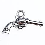 Tibetaans zilveren bedeltje van een pistool revolver 15 x 21 x 3,5 mm gat: 2mm
